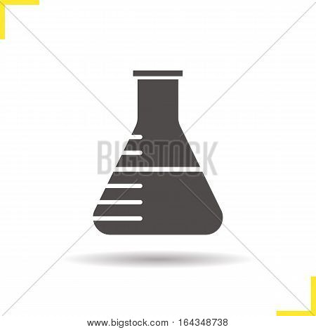 Chemistry lab beaker icon. Drop shadow silhouette symbol. Negative space. Vector isolated illustration