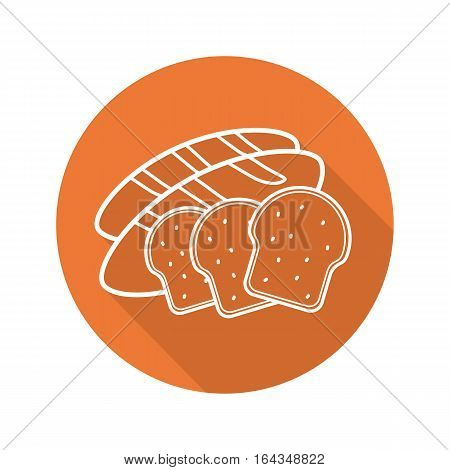 Bread flat linear long shadow icon. Grocery store bakery. Grain products. Toasts and long loaf. Vector line symbol