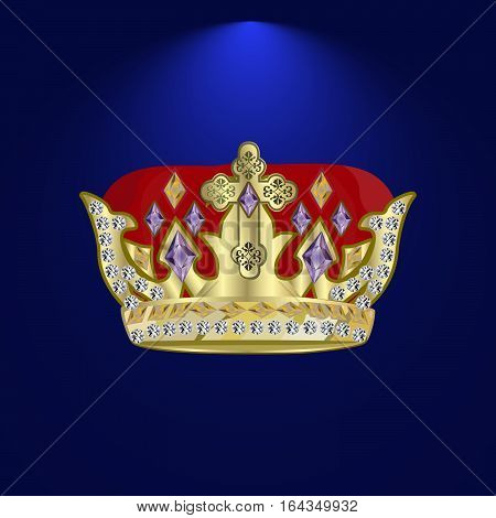 golden royal crown with precious stones and diamonds on a dark background