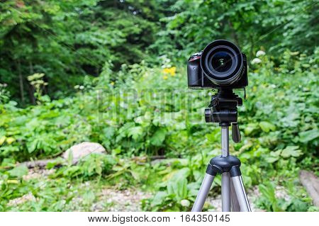 Photo camera mounted on tripod on outdoor background