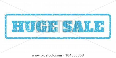 Light Blue rubber seal stamp with Huge Sale text. Vector caption inside rounded rectangular shape. Grunge design and unclean texture for watermark labels. Horisontal emblem on a white background.