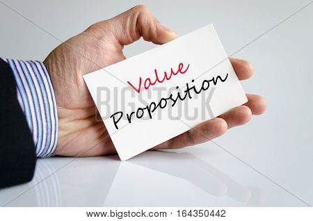 Value proposition text concept isolated over white background