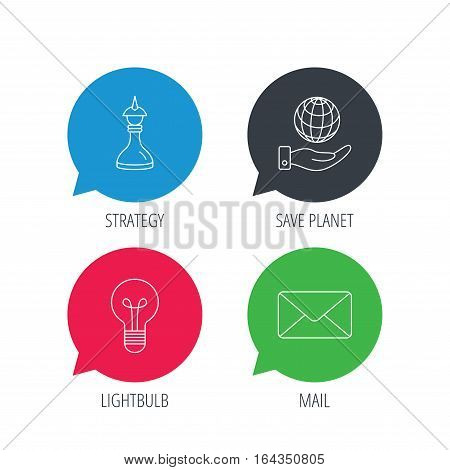 Colored speech bubbles. Strategy, save planet and mail envelope icons. Lamp lightbulb linear sign. Flat web buttons with linear icons. Vector
