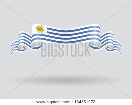 Uruguayan flag wavy abstract background. Vector illustration.