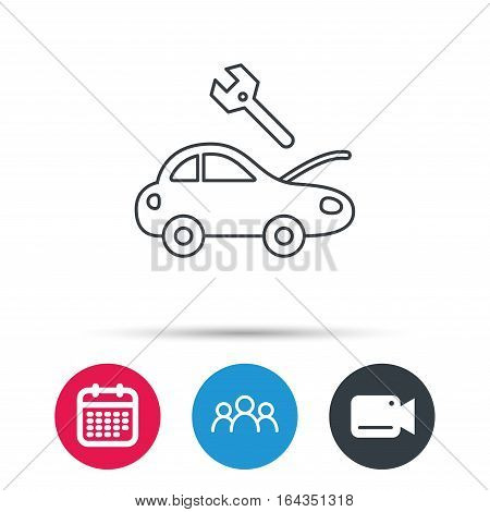Car service icon. Transport repair with wrench key sign. Group of people, video cam and calendar icons. Vector