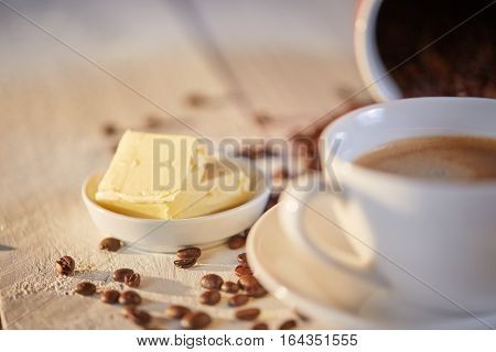 Macro Shot Of Butter For Bulletproof Coffee