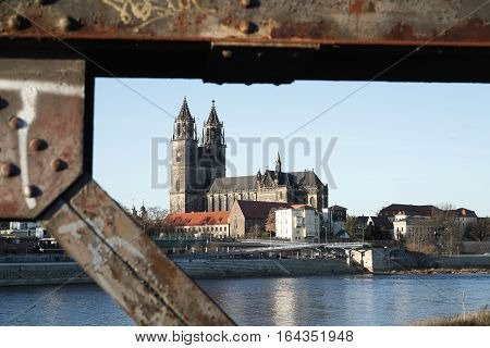 View of the bank of the Elbe at Magdeburg from the lift bridge