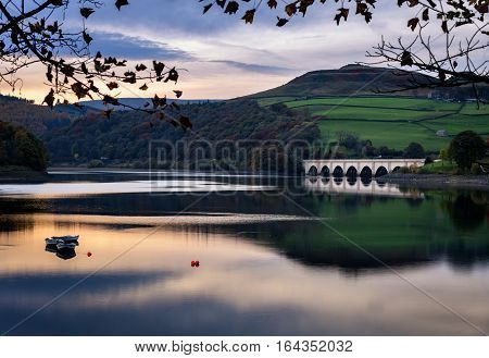Ladybower Reservoir is the lowest reservoir of three in the Upper Derwent Valley of the Peak District