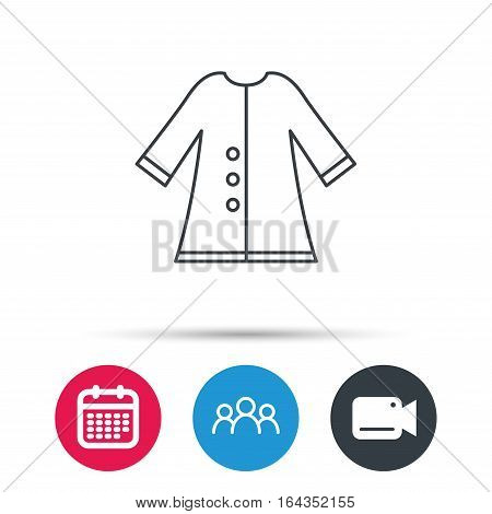Cloak icon. Protection jacket outerwear sign. Gardening clothes symbol. Group of people, video cam and calendar icons. Vector