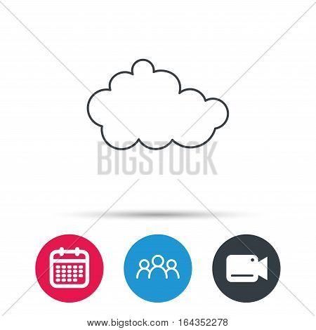 Cloud icon. Overcast weather sign. Meteorology symbol. Group of people, video cam and calendar icons. Vector