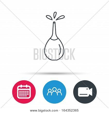 Medical clyster icon. Enema with water drops sign. Group of people, video cam and calendar icons. Vector