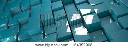 blue glossy bumpy cubes background banner 3d illustration