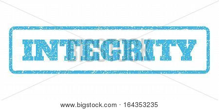 Light Blue rubber seal stamp with Integrity text. Vector tag inside rounded rectangular shape. Grunge design and unclean texture for watermark labels. Horisontal sticker on a white background.