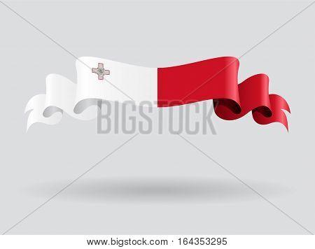 Maltese flag wavy abstract background. Vector illustration.