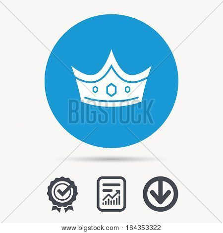 Crown icon. Royal throne leader symbol. Achievement check, download and report file signs. Circle button with web icon. Vector