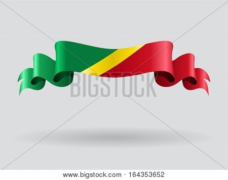 Congolese flag wavy abstract background. Vector illustration.