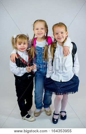 Three Young Schoolgirls