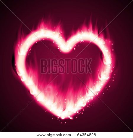 Flame heart on the dark background pink and red