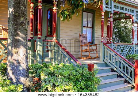 Fernandina Beach, FL, USA - Sept 7: Rocking chair on the porch of this homes around Ash Streets in the historic district of Fernandina Beach City in Florida