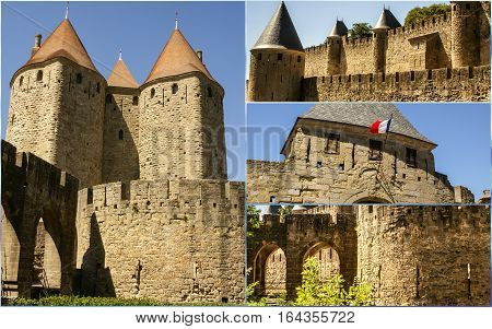 Collage of Image of wall and towers in Carcassonne fortified town in France.