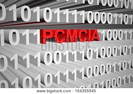 PCMCIA in the form of binary code, 3D illustration