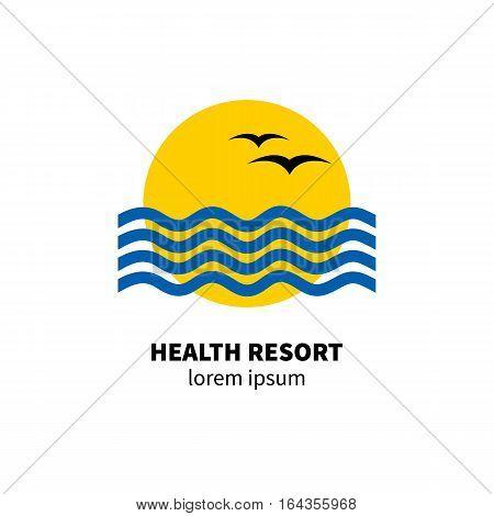 Logo health resort. Icon hotel. Stylized sun waves birds Vector illustration