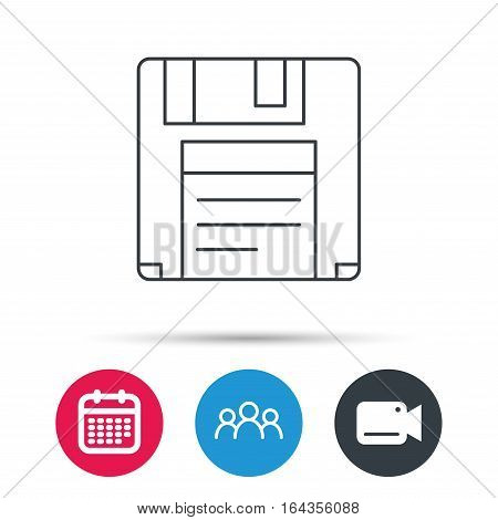 Floppy disk icon. Retro data storage sign. Group of people, video cam and calendar icons. Vector