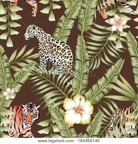 Composition of tropical leaf beautiful flower hibiscus frangipani wild animals leopard and tiger. Seamless wallpaper pattern on a brown background