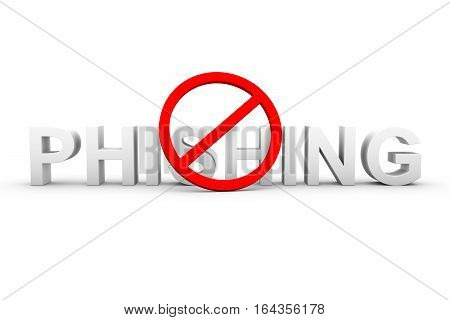 phishing ban on white background 3D illustration