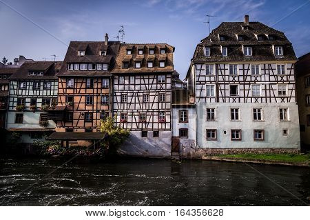 Historic old town half-timber houses on river Ill in Petite France district in Strassburg, Alsace, France
