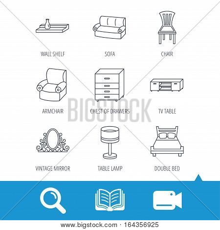 Double bed, table lamp and armchair icons. Chair, lamp and vintage mirror linear signs. Wall shelf, sofa and chest of drawers furniture icons. Video cam, book and magnifier search icons. Vector