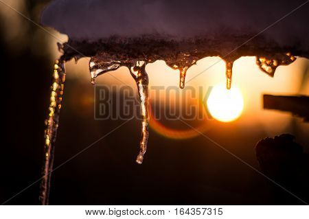 Icicles covered in snow backed by a beautiful winter sunset sky.