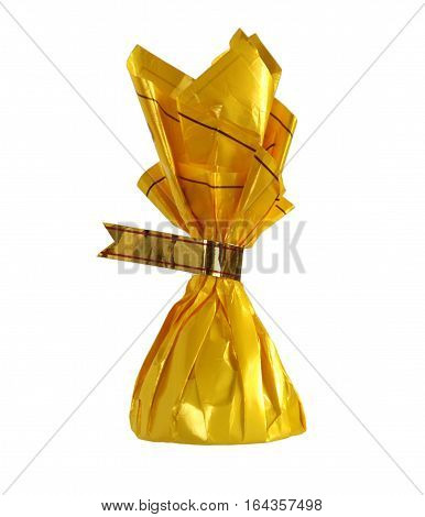 Yellow candy wrapper with blank label isolated on white background
