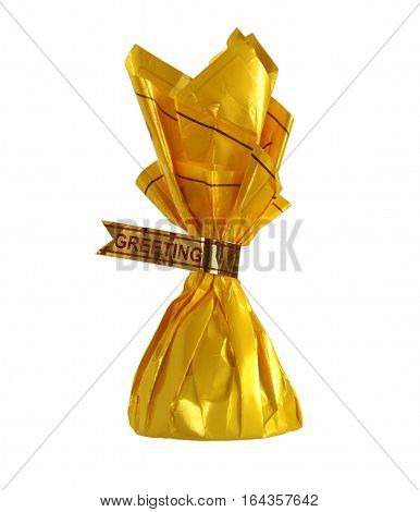 Yellow candy wrapper with word Greeting as a concept of congratulations