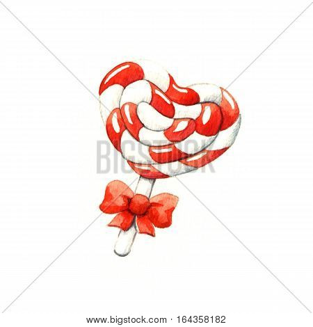 Lollipop in the shape of a heart. Watercolor