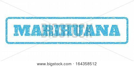 Light Blue rubber seal stamp with Marihuana text. Vector caption inside rounded rectangular shape. Grunge design and unclean texture for watermark labels. Horisontal emblem on a white background.