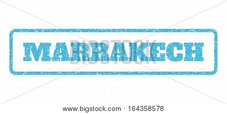 Light Blue rubber seal stamp with Marrakech text. Vector message inside rounded rectangular shape. Grunge design and dirty texture for watermark labels. Horisontal sign on a white background.