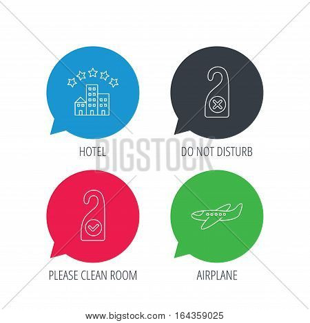 Colored speech bubbles. Hotel, airplane and clean room icons. Do not disturb linear sign. Flat web buttons with linear icons. Vector
