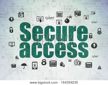 Safety concept: Painted green text Secure Access on Digital Data Paper background with  Hand Drawn Security Icons