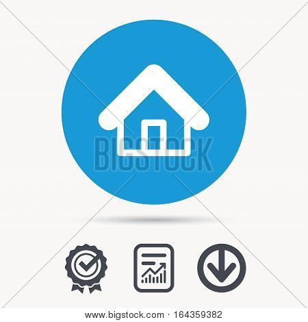 Home icon. House building symbol. Real estate construction. Achievement check, download and report file signs. Circle button with web icon. Vector