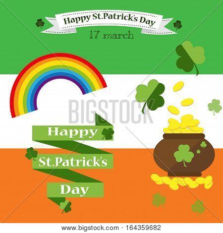 St. Patrick's Day vector design elements set. Festival treasure st patrick day icons shamrock lucky spring. Beer happy celebration decoration. Ireland holiday patrick day leprechaun symbols.