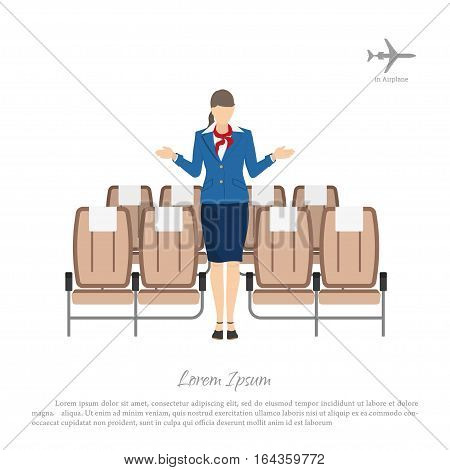 Stewardess transplants passengers on the seats in the airplane. Woman in uniform. Vector illustration