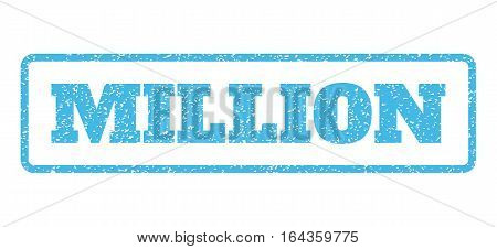 Light Blue rubber seal stamp with Million text. Vector tag inside rounded rectangular banner. Grunge design and dust texture for watermark labels. Horisontal emblem on a white background.