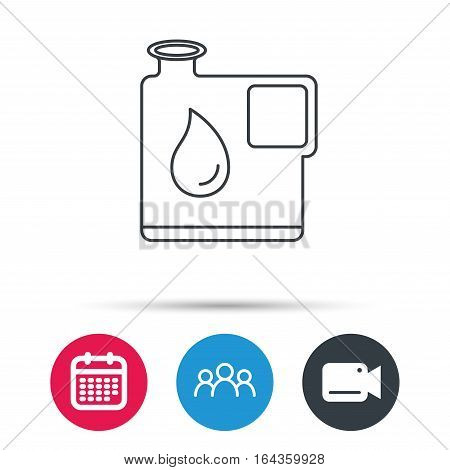 Jerrycan icon. Petrol fuel can with drop sign. Group of people, video cam and calendar icons. Vector