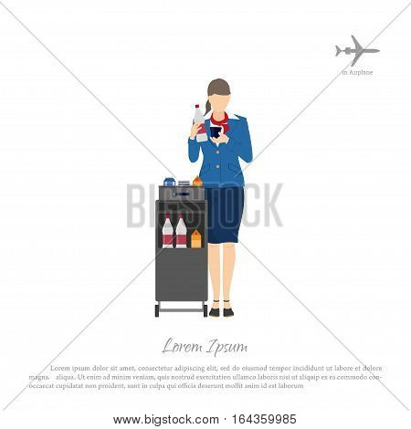 Stewardess with a trolley for food and beverages. Woman in uniform in airplane. Vector illustration