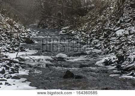 Winter Winding Creek And Snow Covered Landscape 6