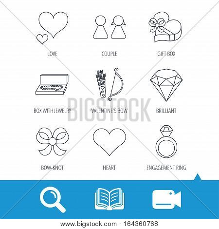 Love heart, brilliant and engagement ring icons. Bow, couple and gift box linear signs. Valentine amour arrows flat line icons. Video cam, book and magnifier search icons. Vector