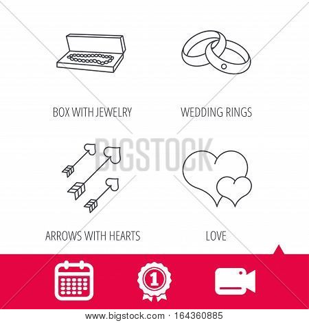 Achievement and video cam signs. Love heart, jewelry and wedding rings icons. Arrows with hearts linear sign. Calendar icon. Vector