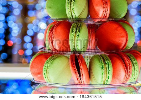 French macaroons.Candy bar.Wedding feast Wedding sweets macaroon