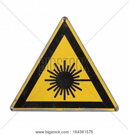 Dangerous laser radiation. Yellow triangle. Sign isolated